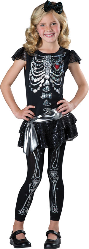 <Lady Cat> Sparkly Skeleton Kids Costume