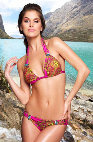 Lady Cat Express お勧め水着通販 LACTURQ30-11 Terquesa Rhinestone Halter Top and Bottom