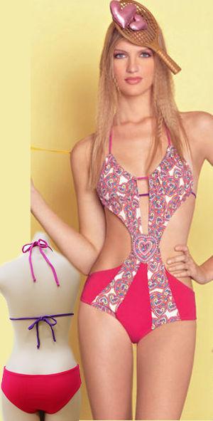 水着/下着/コスチューム/ダンスウェア/ドレスのオークション Embroidered Heart Applique Cutout 1pc Swimwear