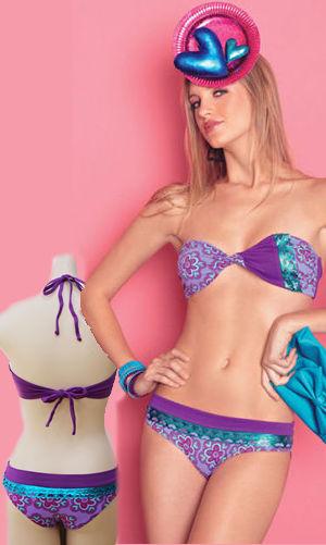 Lady Cat Express お勧め水着通販 LAGAS025 Purple Print Bandeau Bikini