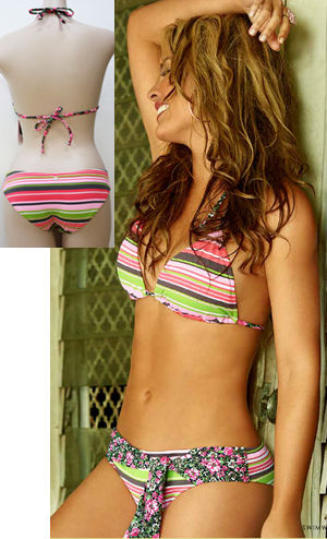 Lady Cat Express お勧め水着通販 LPHT40611 Stripe Triangle Bikini with Flower Belt