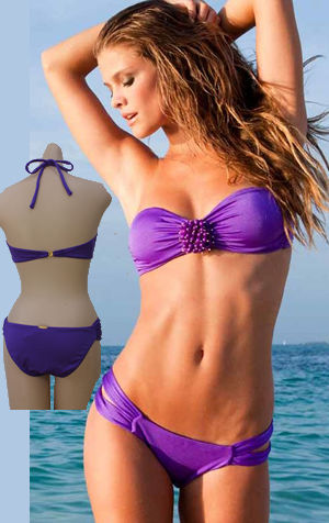 Lady Cat Express お勧め水着通販 LSV3822SUP-3780SUP Sea Urchin Bandeau Top and Double Strap Low Rise Bottom