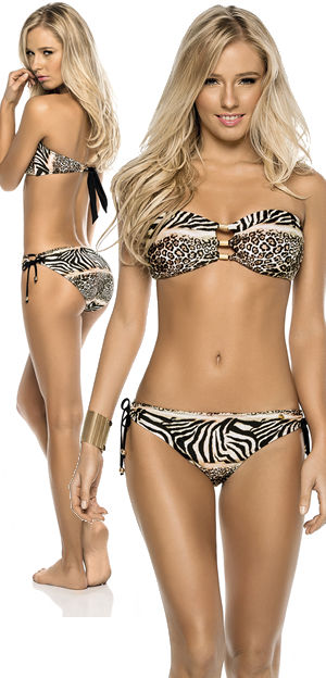 Lady Cat Express お勧め水着通販 LPH520074-330034 Areia Animal Print Bandeau Bikini with Wide Bottom