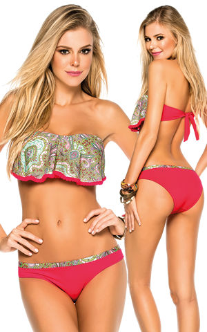 Lady Cat Express お勧め水着通販 LPH520107-340015 Tarantela Paisley Print Bandeau Top and Intermedium Bottom