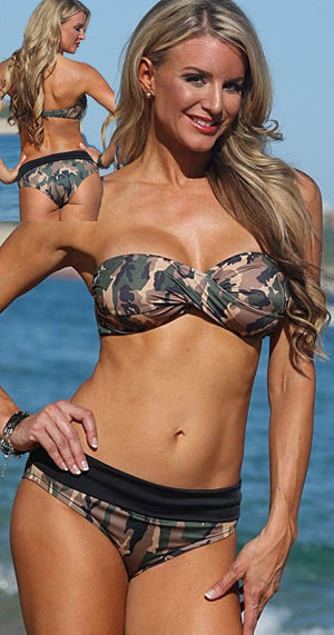 Lady Cat Express お勧め水着通販 LUJW217 Camo Cheeky Banded Bandeau Set