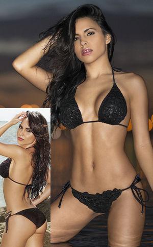 Lady Cat Express お勧め水着通販 LCRE84-TRI-TSS Bardot Tie Side Scrunch Bikini