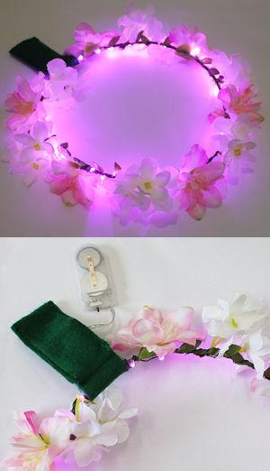 <Lady Cat> LEDライトアップ花冠(はなかんむり)/ホワイト/ピンク