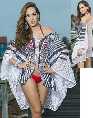 Lady Cat Express お勧め水着通販 LEP7827 Cover Up and Stripe Mesh Beach Dress