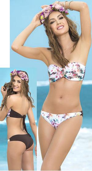 Lady Cat Express お勧め水着通販 LEP6809 Front Flower Printed Twist Bandeau Bikini